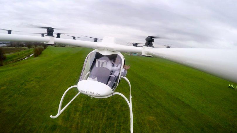 Bemannter Erstflug eines Multicopters nahe Karlsruhe