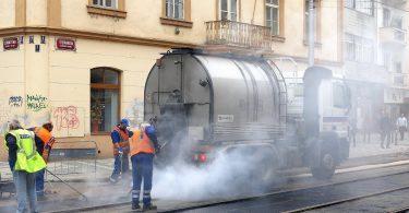 Tram Bauarbeiten in Prag