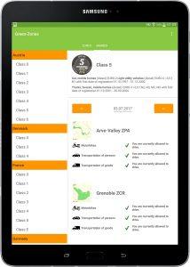 Green-Zones App Frankreich