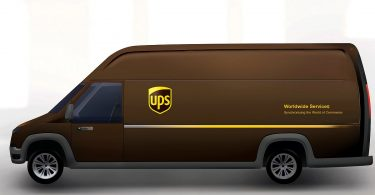 Artistic rendering of plug-in electric delivery trucks