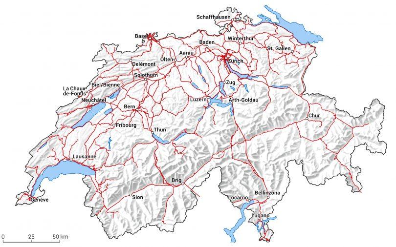 Schienennetz Schweiz 2017