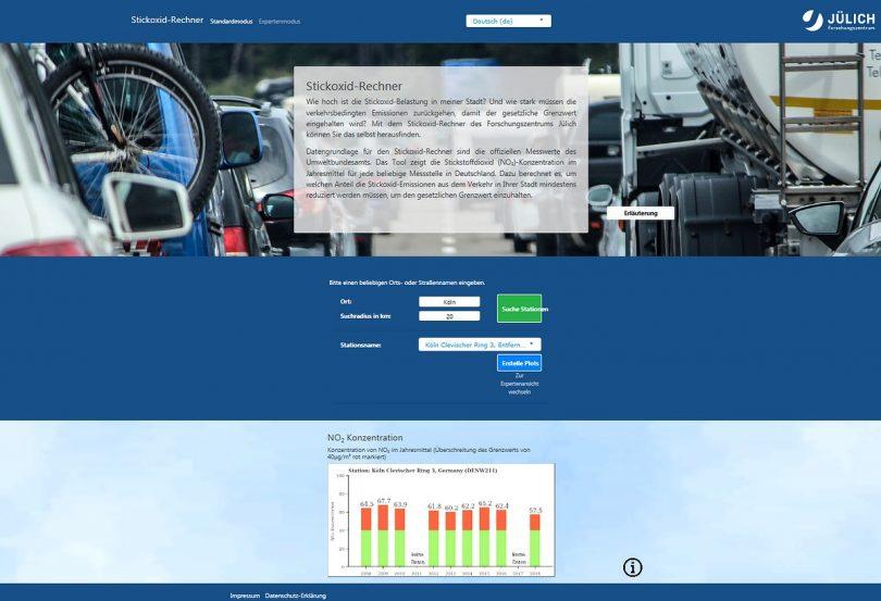 Screenshot Stickoxid-Rechner