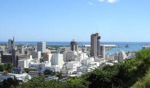 Skyline von Port Louis, Mauritius.