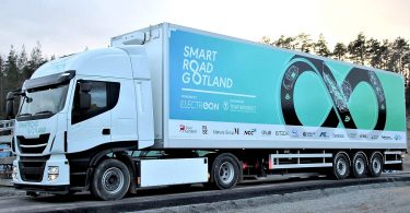 Electric truck for wireless charging. ©_Smartroad Gotland