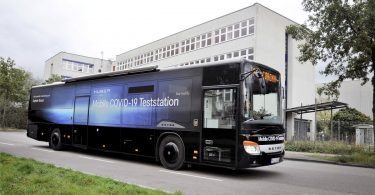Setra inter-city bus as a mobile Covid-19 testing station